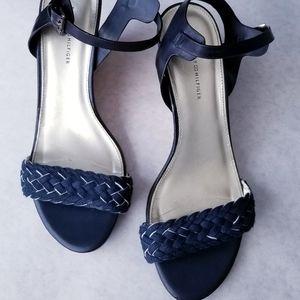Tommy Hilfiger navy faux cork wedge sandals 8.5M